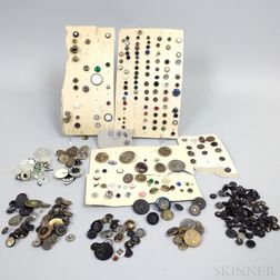Small Group of Mostly Molded Plastic and Metal Buttons.     Estimate $100-200