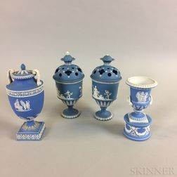 Four Blue Jasper Ceramic Urns