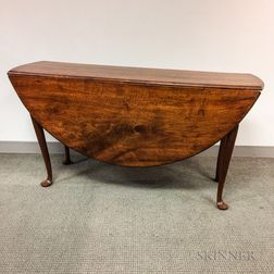 Large Queen Anne Walnut Drop-leaf Table
