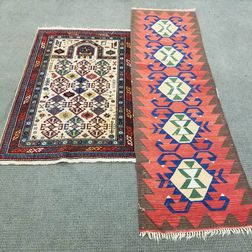 Shirvan-style Prayer Rug and a Kilim Runner