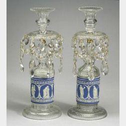 Pair of Dark Blue Jasper Dip and Crystal Candle Lusters