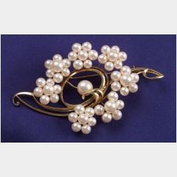 14kt Gold and Cultured Pearl Brooch, Mikimoto