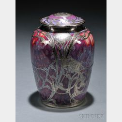 Ruskin Pottery Silver Overlay Covered Jar