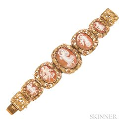 Antique Gold and Shell Cameo Bracelet