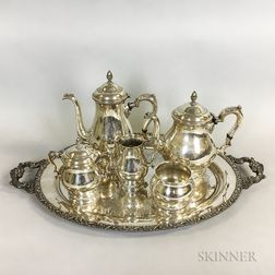 "International Sterling Silver ""Prelude"" Five-piece Tea Set and Silver-plated Tray"