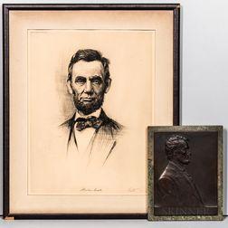Victor David Brenner (American, 1871-1924) Bronze Portrait Plaque of Abraham Lincoln