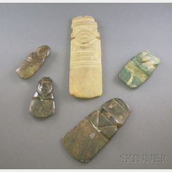 Five Pre-Columbian Carved Jade Axe Gods