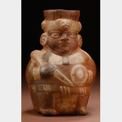 Pre-Columbian Painted Pottery Warrior Vessel