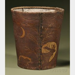 Penobscot Pictorial Birch Bark Wastebasket