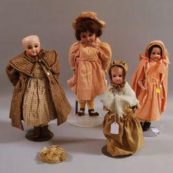 Four German Bisque Shoulder Head Dolls