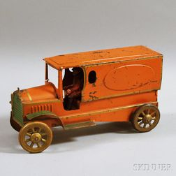 Vintage Pressed Steel Friction Motor-driven Delivery Truck
