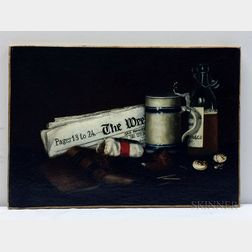 American School, 19th Century      Still Life with Newspaper, Tobacco, and Ale