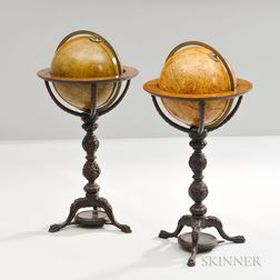 Pair of Thomas Harris & Son 12-inch Floor Standing Globes