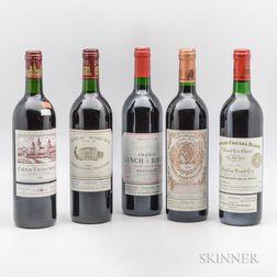 Mixed 1989 Bordeaux, 5 bottles