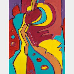 Wayne Cunningham (American, 20th Century)      Abstraction in Turquoise, Yellow, and Red