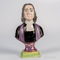 Sunderland Pink Lustre Decorated Bust of John Wesley