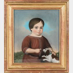 Anglo/American School, Mid-19th Century      Portrait of a Boy with His Dog