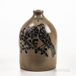 Three-gallon Cobalt-decorated Stoneware Jug