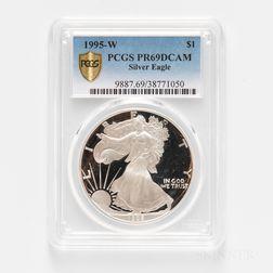 1995-W Proof American Silver Eagle, PCGS PR69DCAM.     Estimate $2,000-3,000