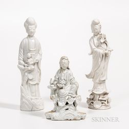 Three Blanc-de-Chine Figures of Guanyin