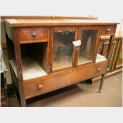 Oak Mirrored Sideboard and a Morris Chair.