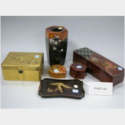 Six Japanese Decorated Lacquerware Boxes, Tray and Vase.