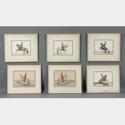 Continental School, 18th/19th Century Style      Lot of Six Equestrian Prints.