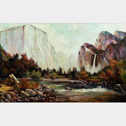 Thomas Hill (American, 1829-1908)      Yosemite Panorama, Possibly a View of El Capitan