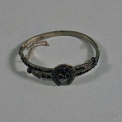 Antique Low-karat Gold and Garnet Hinged Bangle Bracelet