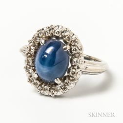 14kt White Gold, Star Sapphire, and Diamond Ring