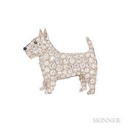 Platinum and Diamond Scottish Terrier Brooch