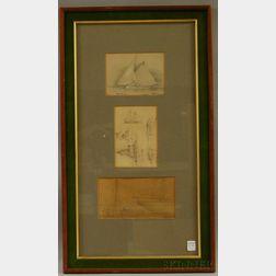 Four Framed Marine Themed Works:   Frederick Seeth (American, 1845-1929)