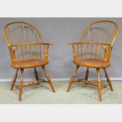 Pair of Stickley Cherry and Ash Windsor Sack-back Armchairs