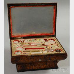 Biedermeier Burl Veneer Casket-form Sewing Box
