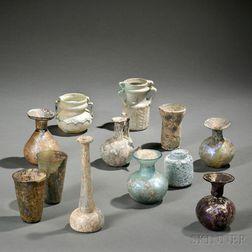 Twelve Roman-style Glass Vessels