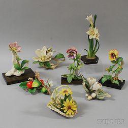 Eight Ceramic Flowers