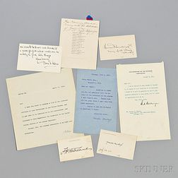 Taft, William Howard (1857-1930) Archive Containing One Signed Menu and Autographs of his Presidential Cabinet.