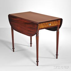 Carved Mahogany and Bird's-eye Maple Pembroke Table