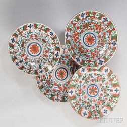 Four Delft Polychrome Chargers