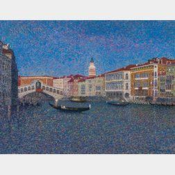 Jean Vollet (French, b. 1935)      Grand Canal et Pont du Rialto