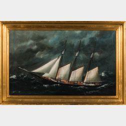 William Pierce Stubbs (Maine/Massachusetts, 1842-1909)      Portrait of a Three-masted Vessel in High Seas