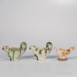 Three Staffordshire Earthenware Figural Sauceboats