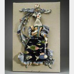 "Studio Pottery Ceramic ""Sea Fairy"" Wall Sculpture"