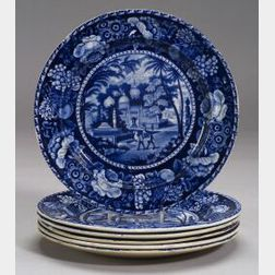 Six Blue and White Transfer Decorated Staffordshire Plates