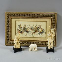Three Asian Ivory Figures and an Ivory Painting
