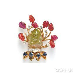 14kt Gold and Carved Gemstone Brooch