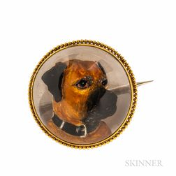Antique Gold and Reverse-painted Crystal Dog Brooch