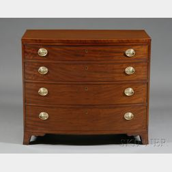 Federal Mahogany Inlaid and Mahogany Veneer Bowfront Chest of Drawers