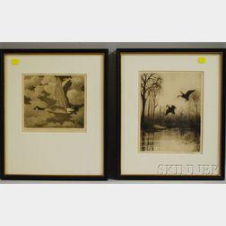 Two Waterfowl Sporting Prints:      Benson Bond Moore (American 1882-1974), Canadian Goose
