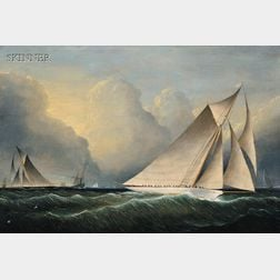 Attributed to James Edward Buttersworth (Anglo/American, 1817-1894)      Yachts Rounding the Mark